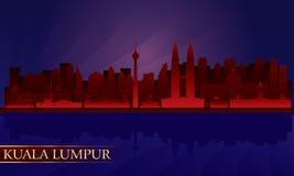 Kuala Lumpur night city skyline. Vector silhouette illustration Royalty Free Illustration