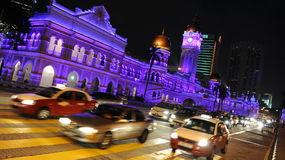 Kuala Lumpur at Night. General view of the Sultan Abdul Samad Building on February 14, 2012 in Kuala Lumpur, Malaysia. The Malay capital was founded in 1859 and Stock Photos