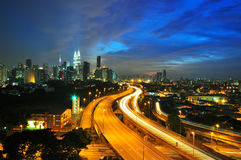 Kuala lumpur night skyline. During blue hour Royalty Free Stock Image