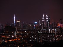 Kuala Lumpur noc widok Zdjęcia Royalty Free