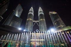 Kuala lumpur petronas towers. In front of The Petronas Twin Towers&Fountain royalty free stock photo