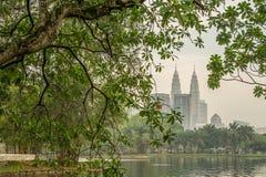 Kuala Lumpur Petronas Twin Towers. Seen from Titiwangsa Lake Stock Photography