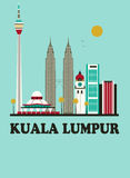 Kuala Lumpur podróży tło ilustracja wektor