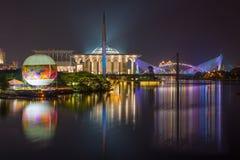 Kuala Lumpur Putrajaya Building en la noche Foto de archivo libre de regalías