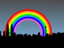 Kuala Lumpur with rainbow Stock Image