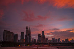 Kuala Lumpur and red sunset Royalty Free Stock Photos