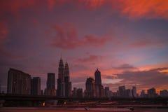 Kuala Lumpur and red sunset Royalty Free Stock Photos