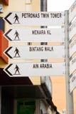 Kuala lumpur sights signpost Stock Photo