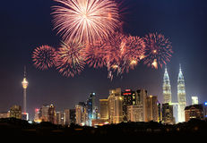 Kuala Lumpur skyline. A composite picture of Kuala Lumpur city skyline with fireworks display stock images