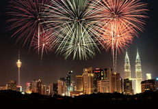 Kuala Lumpur skyline. A composite picture of Kuala Lumpur city skyline with fireworks display stock photos