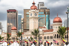 Kuala Lumpur skyline around Merdeka square. Modern office buildings contrasts with the colonial architecture of the Sultan Abdul Sama building in Kuala Lumpur stock photos