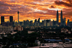 Sunset on Kuala Lumpur Skyline Royalty Free Stock Photo