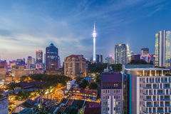 Kuala Lumpur, skyline da cidade de Malásia no nascer do sol Imagem de Stock Royalty Free