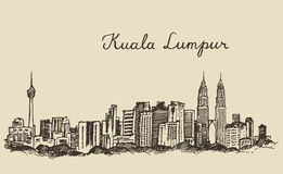 Kuala Lumpur skyline engraved hand drawn sketch Royalty Free Stock Photography
