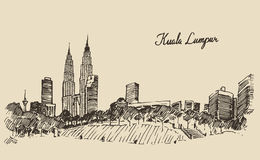 Kuala Lumpur skyline engraved hand drawn sketch Stock Images