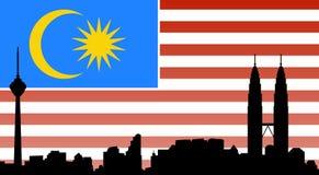 Kuala lumpur skyline with flag Stock Images