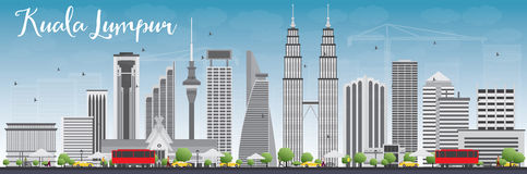 Kuala Lumpur Skyline with Gray Buildings and Blue Sky. Royalty Free Stock Photo