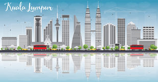 Kuala Lumpur Skyline with Gray Buildings and Reflections Royalty Free Stock Images