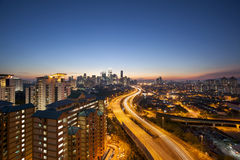 Kuala Lumpur Skyline with Highway at Twilight Royalty Free Stock Photo