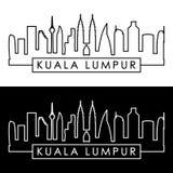 Kuala Lumpur Skyline lineare Art Lizenzfreies Stockfoto