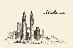 Kuala Lumpur skyline Malaysia illustration drawn. Royalty Free Stock Photo