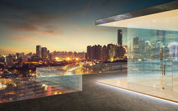 Kuala Lumpur skyline at night with balcony view Stock Image