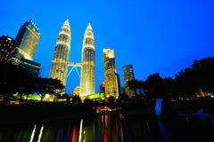 Kuala Lumpur skyline at night Stock Photos