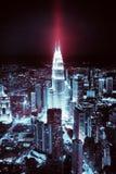 Kuala Lumpur skyline at night, tinting, shades of Stock Images