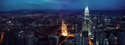 Kuala Lumpur skyline at night, view of the centre Stock Image