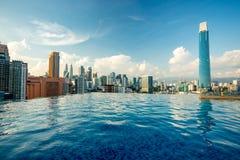 Kuala Lumpur skyline pool view. Malaysia royalty free stock image