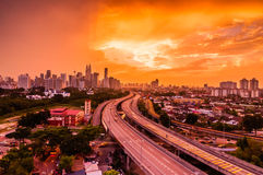 Kuala Lumpur skyline from PPR Jelatek. Sunset Kuala Lumpur skyline from PPR Jelatek with leding line Royalty Free Stock Images