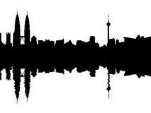 Kuala Lumpur Skyline reflected Royalty Free Stock Images