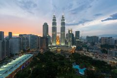 Kuala Lumpur skyline and skyscraper at night in Kuala Lumpur, Ma Stock Photography