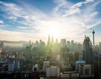 Kuala Lumpur Skyline Sunrise View royalty-vrije stock foto's