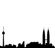 Kuala lumpur skyline vector. Vectored illustration of the city and capital of malaysia, kuala lumpur, with most famous buildings and landmarks as the city tower Royalty Free Stock Photography