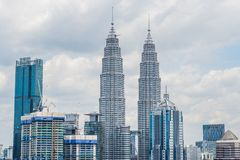 Kuala Lumpur skyline, view of the city, skyscrapers with a beaut royalty free stock photos
