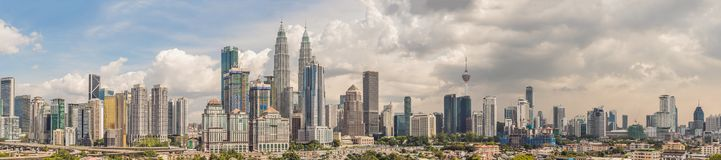 Kuala Lumpur skyline, view of the city, skyscrapers with a beautiful sky in the afternoon royalty free stock image