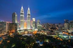 Kuala lumpur skyscraper at night in Malaysia Stock Photography