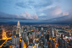 Kuala Lumpur-Stadt an der Dämmerung, Malaysia Stockbild