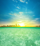 Kuala Lumpur sunrise view from infinity pool Royalty Free Stock Image