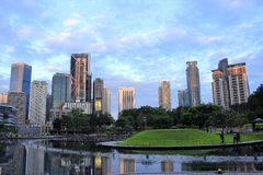 Kuala Lumpur 2017 17th Februari Skyskrapabyggnader i KLCC Royaltyfri Bild