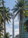 Kuala Lumpur Tower in betwen buildings and coconut trees Stock Image