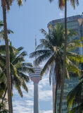 Kuala Lumpur Tower in betwen buildings and coconut trees Stock Photos