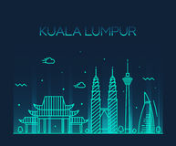 Kuala Lumpur Trendy vector illustration line art Royalty Free Stock Images