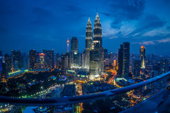 Kuala Lumpur Twin Towers at Blue Hour & Dusk Royalty Free Stock Images
