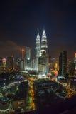 Kuala Lumpur Twin Towers at Night Royalty Free Stock Photo
