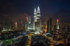 Kuala Lumpur Twin Towers at Night Royalty Free Stock Photography