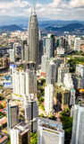 Kuala Lumpur Twin Towers vertical panorama Stock Photo