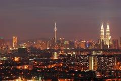 Kuala Lumpur w noc widoku zdjęcie stock