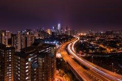 Kuala- LumpurSkyline nachts Lizenzfreies Stockbild